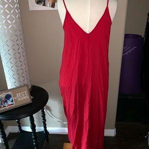 Elan Dresses - Long Red Linen Dress